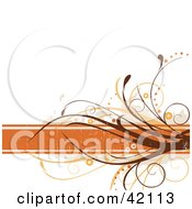 Grunge Floral Background Of Brown Vines On An Orange Text Box Over White