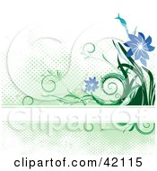 Grungy Green And Blue Background Of Flowers And Dots With A Text Bar