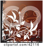 Grunge Floral Background Of Orange And White Vines On Brown