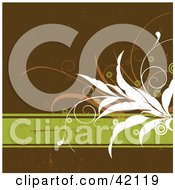 Grunge Floral Background Of White And Orange Plants On A Green Text Box Over Brown