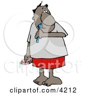 Ethnic Man Brushing His Teeth With Toothbrush And Toothpaste Clipart