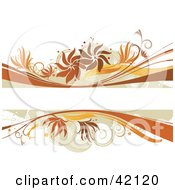 Grunge Floral Background Of Brown And Orange Grunge On White With A Text Box