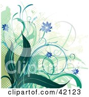 Background Of Grungy Green And Blue Flowers And Dots On White