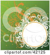 Grunge Oval Text Box Bordered In White And Orange Vines On Green