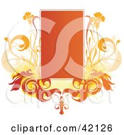 Grunge Orange Text Box With Orange Flowers On White