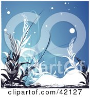 Grunge Floral Background Of Black And White Plants On Blue With Snow