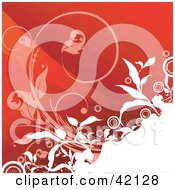 Clipart Illustration of a Grunge Floral Background Of Pink And White Vines Over Red by L2studio #COLLC42128-0097
