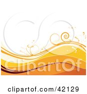Grunge Floral Background Of Waves Of Orange And Brown And Vines On White