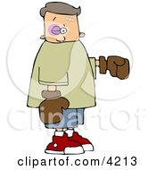 Black Eye Boy Wearing Boxing Gloves Clipart