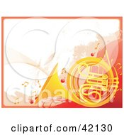 Grunge French Horn Background With Music Notes And A Red Border