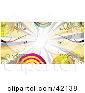 Clipart Illustration Of Colorful Bursts Vines And Circles On A Header