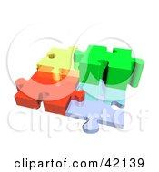 Clipart Illustration Of Four 3d Diverse Puzzle Pieces Connected