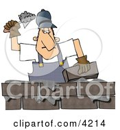 Male Builder Cementing A Brick Wall Clipart