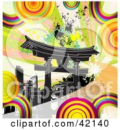 Clipart Illustration Of Colorful Circles And Grunge Around Black Tokyo Skyscrapers In Japan by MacX #COLLC42140-0098