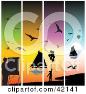 Four Colorful Sunset Panels With Silhouetted Seagulls Sailboats Painters And Balloons