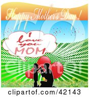 Clipart Illustration Of A Mothers Day Greeting With A Silhouetted Boy And His Kneeling Mom In Front Of Hearts by MacX