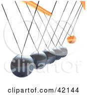 Clipart Illustration Of An Orange Ball Swinging Outwards On A Pendulum Swing