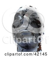 Clipart Illustration Of A 3d Chrome Head With Grid Patterns Symbolizing Cloning Or Plastic Surgery