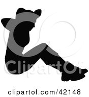 Clipart Illustration Of A Black Silhouetted Woman Doing Sit Ups In The Gym by MacX #COLLC42148-0098