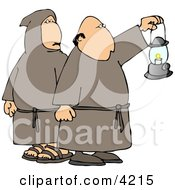Monks Wearing Robes And Holding A Lit Lantern At Night Clipart