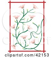 Clipart Illustration Of A Pink Japanese Flower Background With Red Trim by Cherie Reve