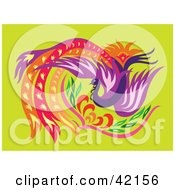 Clipart Illustration Of A Beautiful Firebird Phoenix With Colorful Long Feathers
