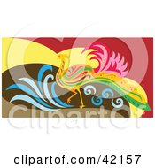 Clipart Illustration Of A Colorful Walking Phoenix Bird by Cherie Reve