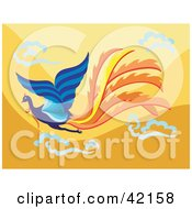 Clipart Illustration Of A Flying Blue Phoenix Bird With Orange Tail Feathers On An Orange Sky