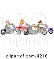 Biker Men And Woman Riding Motorcycles Together As A Group
