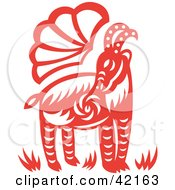 Clipart Illustration Of A Red Oriental Goat Design