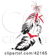 Clipart Illustration Of Black And Red Native American Feathers by Cherie Reve #COLLC42165-0099