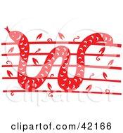 Red Oriental Snake Design by Cherie Reve