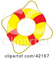 Clipart Illustration Of A Rope Around A Red And Yellow Live Buoy by Cherie Reve