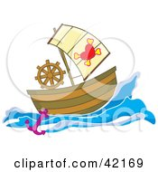 Clipart Illustration Of A Pirate Ship With A Heart And Cross Bone Flag by Cherie Reve