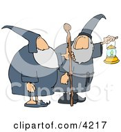 Two Wizards Ones Holding A Lantern And The Other Is Holding A Walking Stick Clipart