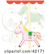 Clipart Illustration Of Cute Carousel Horses And Stars On A Merry Go Round by Cherie Reve