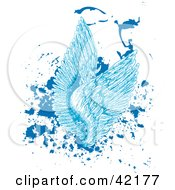 Clipart Illustration Of Blue Feathered Angel Wings On Splattered Grunge by Cherie Reve #COLLC42177-0099