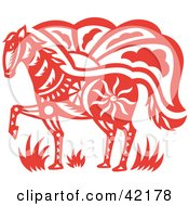 Clipart Illustration of a Red Oriental Horse Design by Cherie Reve