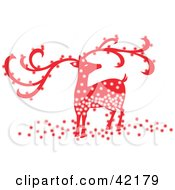 Clipart Illustration Of A Sparkling Red Christmas Reindeer With Large Antlers by Cherie Reve