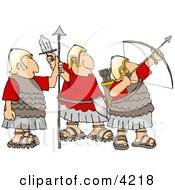 Roman Soldiers Armed With Bow And Arrow Sword And Spear Clipart