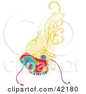 Clipart Illustration Of A Lady With Blond Hair Wearing A Harlequin Mask by Cherie Reve
