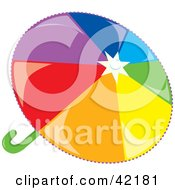 Clipart Illustration Of A Shiny Rainbow Colored Umbrella by Cherie Reve