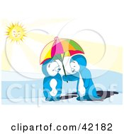 Clipart Illustration Of A Cute Blue Penguin Couple Sharing A Parasol On A Sunny Day