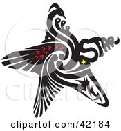 Black Abstract Star With A Bird And Arrows