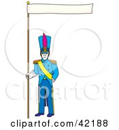 Clipart Illustration Of A Male Soldier In Blue Holding Up A Banner by Cherie Reve