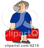 Woman Carrying Two Red Suitcases Clipart