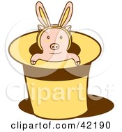 Clipart Illustration Of A Piglet Wearing Bunny Ears Popping Out Of A Magicians Hat