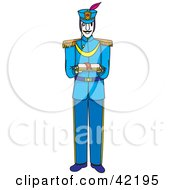 Clipart Illustration Of A Male Soldier In Blue Holding An Open Book