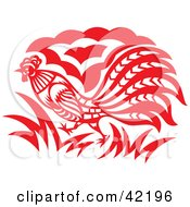 Clipart Illustration Of A Red Oriental Rooster Design by Cherie Reve