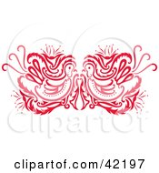 Clipart Illustration Of A Red Oriental Bird Design by Cherie Reve